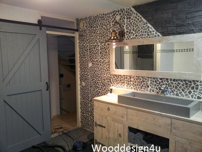 Badmeubel hout beton