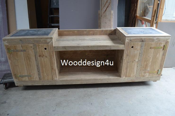 Houten Buiten Keuken : Doe het zelf bouwpakket buitenkeuken steigerhout met hardsteen