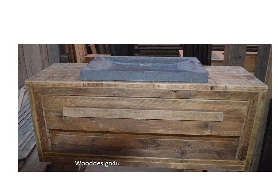 Badkamermeubel steigerhout wooddesign4u is gespecialiseerd in