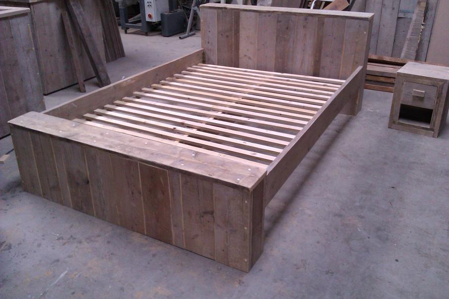 2 pers steigerhouten bed for Steigerhout bed