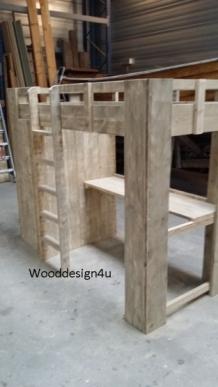 Hoogslaper Met Buro.Hoogslaper Met Kastruimte En Buro Wooddesign4u Is Gespecialiseerd