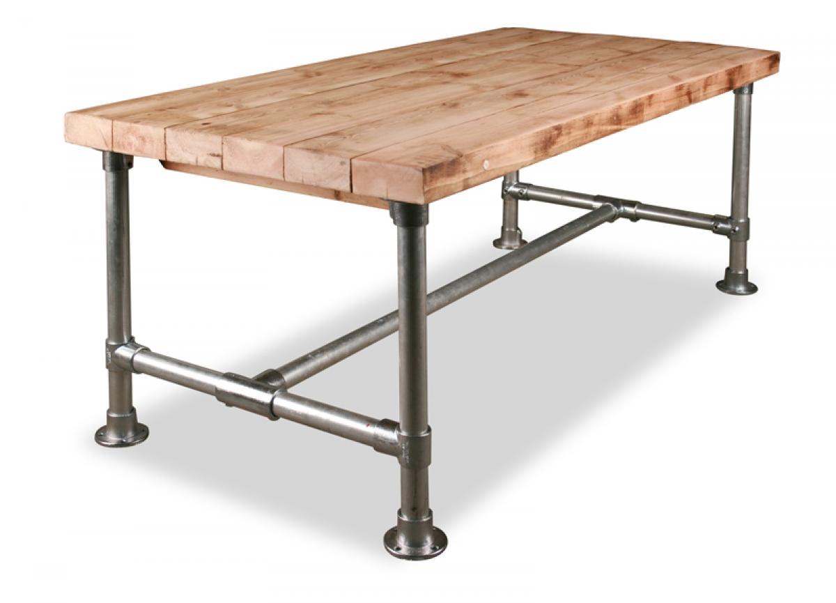 Kapstok staal en hout for Houten bartafel